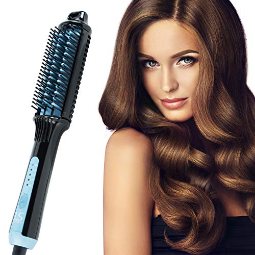Kuron Store LESASHA Multi Styling Thermal Electric Hair Brush Iron Hot Comb Fast Heating Hair Brushes Irons Curling Straightening Professional Salon Hairdressing Stylist Tools Black Blue