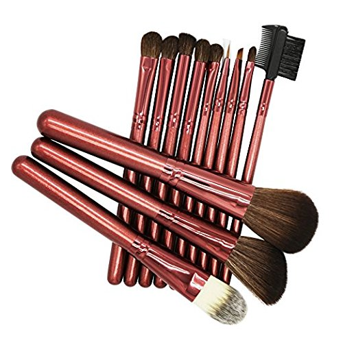 BeautyKate Premium Makeup Brushes 12 Pcs Goat Wool Hair Kabuki Makeup Brush Set Wine Red