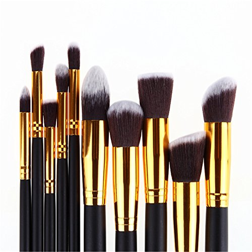 Pure Vie 10 Pcs Professional Cosmetic Makeup Brushes Set - Essential Make Up Tools Kit for Professional as well as Personal Use