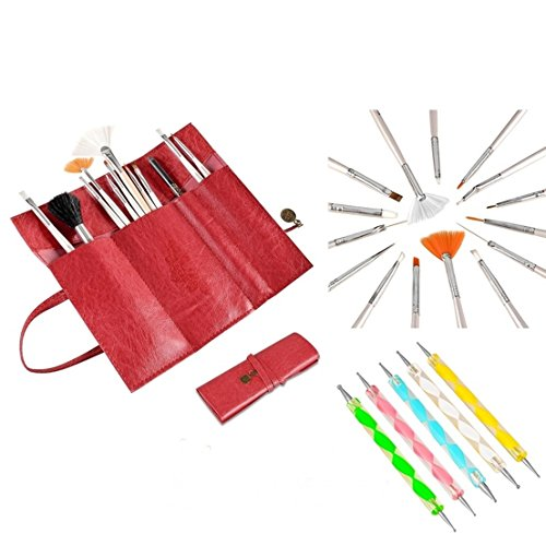 20pcs Tips Tool Painting Dotting Nail Art Brushes Pen Set Kit Bag Color Red