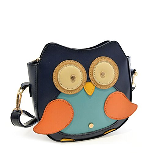 Labara New Fashion Women Leather Handbag Cartoon Bag Girl Lovely Owl Fox Shoulder Bagshit Color Mini Handbag Shoulder Diagonal Package Owl Bag dark blue