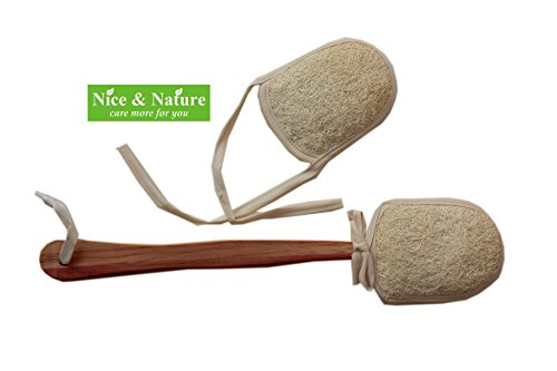 Loofah Back Body Scrubber Natural Loofah Back Brush with Genuine Wooden Handle Exfoliating Scrubber for Men and Women Shower Loofah from Head to Toe in the Shower or Bath with Refill Nice Loofah