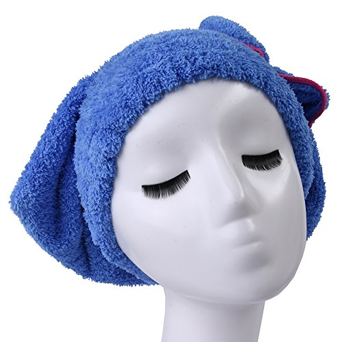 Microfiber Dry Hair Towel - Quick Drying - Turban - Professional Salon Wrap - Extra Soft and Absorbent - No Frizz-blue