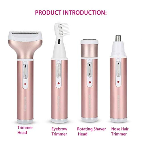 Sala-Ctr - 4 in 1 Electric Nose Hair Trimmer Rechargeable Mens Ear Nose Hair Cutter Women Face Care Beard Shaver for Nose Ear