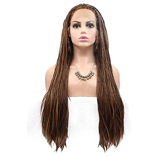 Elegent Dyed long curly hair ladies in Europe and America wig set in the middle of the chemical fiber wig hair set - small tweezers - brown - long hair Charming