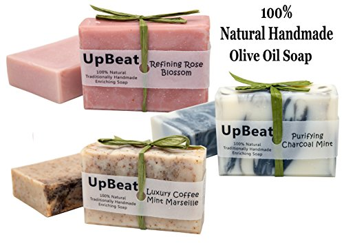 Natural Soap Bar Gift Set -3 Handmade Organic Olive Oil Soaps with Coconut Oil Activated Charcoal Soap PurifiesCoffee Soap ExfoliatesMoisturizing Rose Herbal Soap CleansesGreat Gift Idea for All
