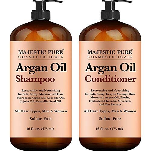 Argan Oil Shampoo and Conditioner from Majestic Pure Improve formula Sulfate Free Vitamin Enriched Volumizing Gentle Hair Restoration Formula for Daily Use for Men and Women 16 fl oz Each