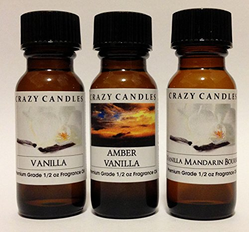 3 Bottles Set 1 Vanilla 1 Amber Vanilla 1 Vanilla Mandarin Bourbon 12 Fl Oz Each 15ml Premium Grade Scented Fragrance Oils By Crazy Candles