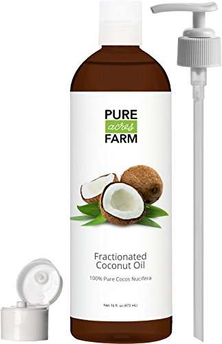 Fractionated Coconut Oil Liquid - Large 16oz - WITH PUMP  FREE Recipe eBook - Use with Essential Oils and Aromatherapy as a Carrier and Base oil - Add to Roll-On Bottles for Easy Application