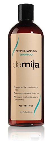 Deep Cleansing Shampoo for all hair types - Best Purifying and Clarifying Shampoo Hair Products on Amazon - Removes Residue and Cosmetic Build Up - Ideal for Use Prior to Keratin Hair Treatment - 169 Oz 500 ml by Damila