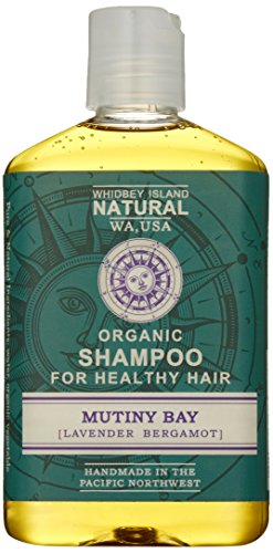 Whidbey Island Natural Organic Shampoo - Mutiny Bay Lavender Bergamot 8 fl oz Made with enriching tropical and nut oils Safe for dyed hair Natural foam - No Sodium Lauryl Sulfate SLS No alcohol Handmade in the Pacific Northwest USA