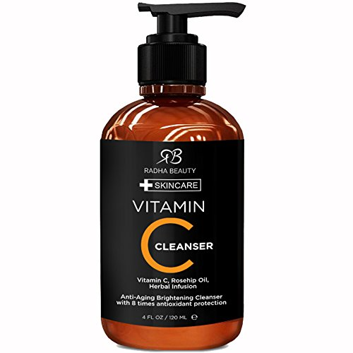 Radha Beauty Vitamin C Facial Cleanser 4 oz - Face wash for Anti Aging Skin Brightening with Vitamin C Herbal Infusion Rosehip Oil