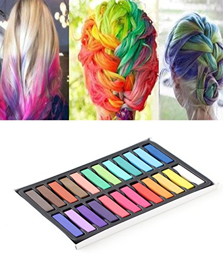 New 24 Color Non Toxic Hair Chalk Set Temporary Hair Color Chalk Dye Soft Pastels Salon Kit