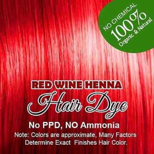Red wine Henna Hair Color - 100 Organic and Chemical Free