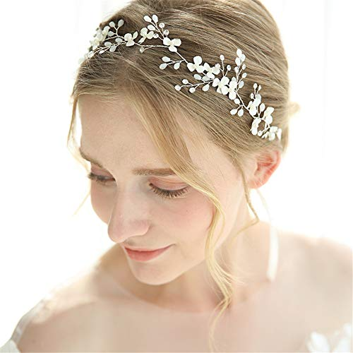 RemeeHi Hand Made Flower Fashion Design Rhinestone Crystal Pearl Wedding Headband Bridal Hairpin Simple Design Bridal Headband String Headdress 1pcs