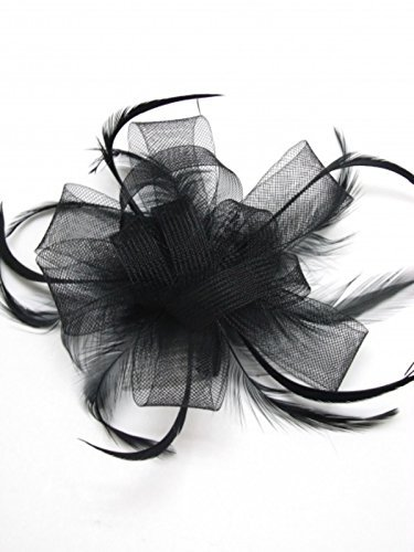 Black Looped Bow and Feathers Bridal Hair Comb Slide Fascinator by Pritties Accessories