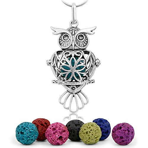 Maromalife Premium Owl Lava Stone Aromatherapy Essential Oil Diffuser Necklace Locket Pendant Gift Set with 24 Chain and Multi-Colored Beads
