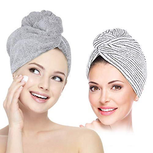 Organic Bamboo Hair Towel Wrap for Women Girls UQXY 2 Pack Anti-frizz Quick Dry Hair Drying Turban Shower Head Towel for Curly Long Thick Hair Super Absorbent Fast Drying TowelsGreyWhite