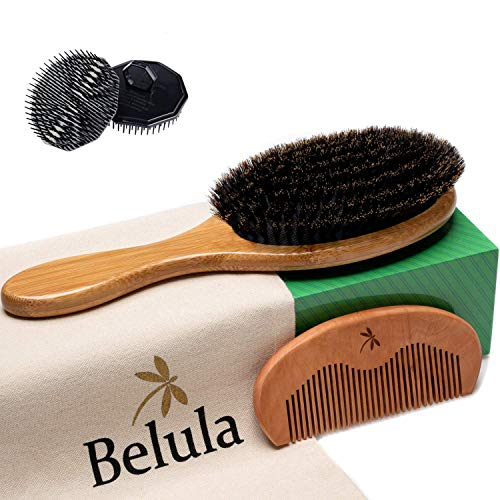 Premium Boar Bristle Hair Brush for Men Set 100 Boar Bristle Brush and Wooden Comb for Men Free 2 x Palm Brush Travel Bag Included Hairbrush for Thin Normal and Short Hair