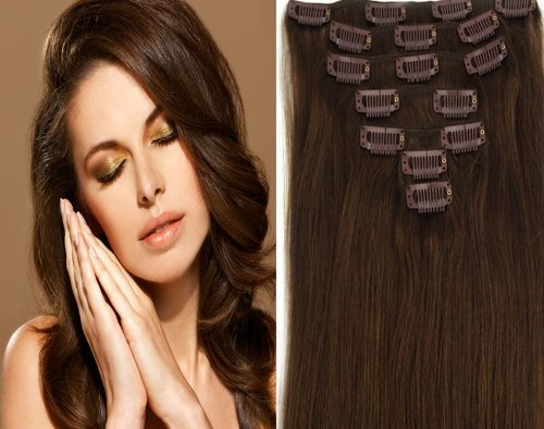 CLIP IN REMY REAL HUMAN HAIR EXTENSIONS 7PCS 20 Inch 70g color 4-dark brownmedium dark brown chocolate brown