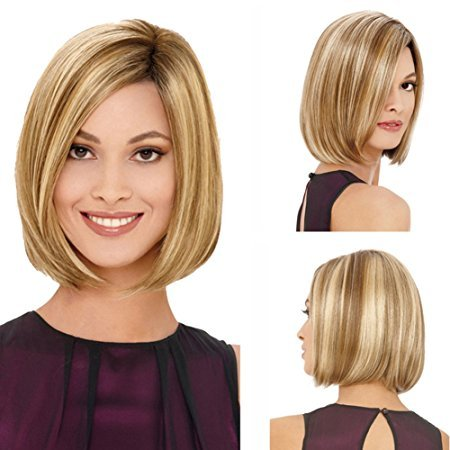 YX Women Short Bob Hair wig Blonde Ombre Synthetic Wig Natural As Real Hair Party Wig 32CM