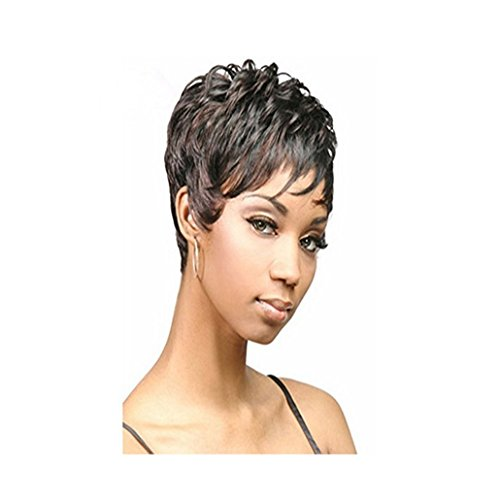 Longlove Short Dark Brown Bob Curly European Hair Wig for Women