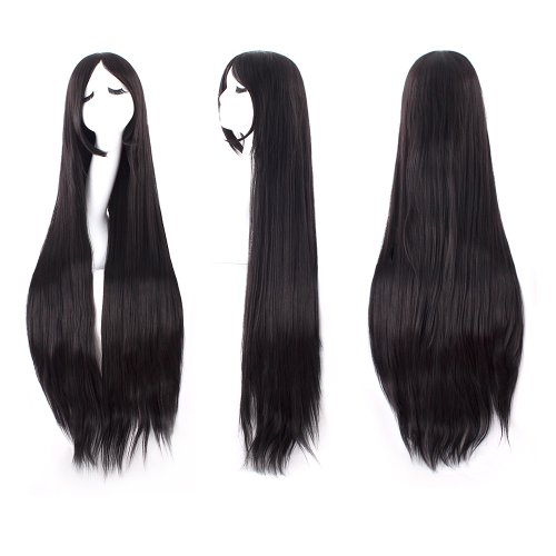 MapofBeauty 40 100cm Black Long Straight Cosplay Costume Wig Fashion Party Wig