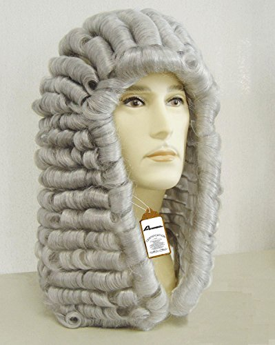New Style Lawyer Wig Judge Wig Long Curly Gray Silver Men Wig Mens Colonial George Washington Historical Costume Wig Halloween D0226