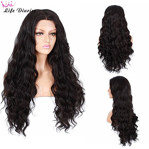 Life Diaries 250Density Fashion Long Natural Wave 10Human Hair90Heat Resistant Fiber Glueless Lace Front Synthetic Wig For Women26Black