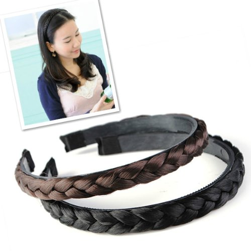 Black Brown Hair Braid Headband Wigs Hair Bands