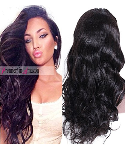 Premier Wig Body Wave Lace Front Wigs-Glueless Brazilian Remy Human Hair Natural Deep Body Wave Lace Wigs with Baby Hair for Black Women 16 Inch natural color wig