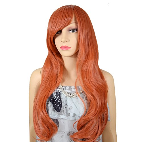 RightOn 26 Inches Long Curly Cosplay Consume Party Movie Anime Wig Oblique Bangs with Free Wig Cap and Comb Orange