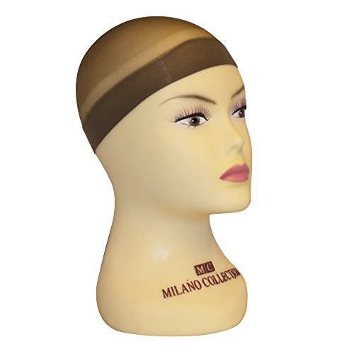 Milano Collection Nylon Fitted Elastic Mesh Snood Wig Cap Set of 9 in Brown