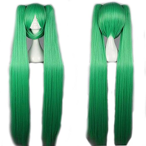 Wig 100cm  40 inch Cosplay Anime Vocaloid Hatsune Miku Wig 7 Colors with 2 Clip on Ponytails Removable Japanese Kanekalon Long Straight Synthetic Wig Stretchable Elastic Wig Net Light Green