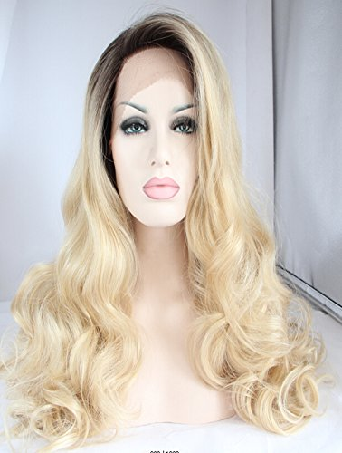 KryssmaFashion Ombre Blonde Lace Front Wig For White Women Dark Roots Long Wavy Glueless Synthetic Hair Wigs Half Hand Tied Heat Friendly 26 Inches