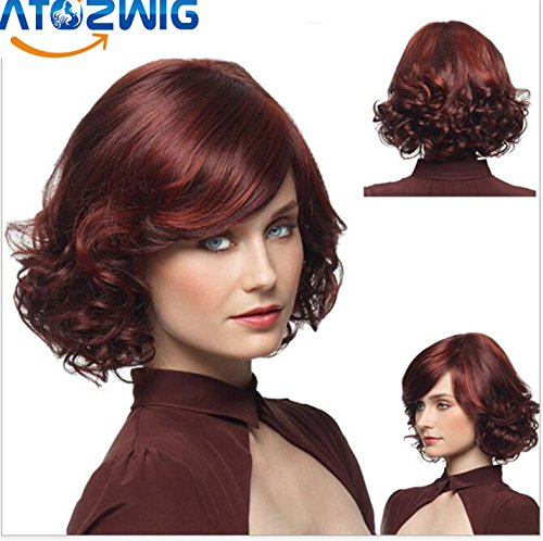 ATOZWIG European Women Charming Wine Red Fluffy Wigs Short Curly Hair Wigs Ombre Synthetic Kanekalon Hair