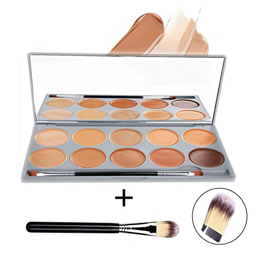DELANCI 10 Colors Pro Concealer Highlighter Contour Palette Face Cream Concealer Makeup Palette Complete Coverage Camouflage Concealer Set Cosmetics Contouring Kit with Mirror Make Up Brush Tool