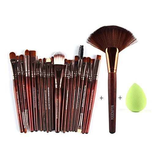 Comemall Fan Shape Makeup Brush Powder Concealor Sponge Blender Makeup Brushes Set 22 pcs