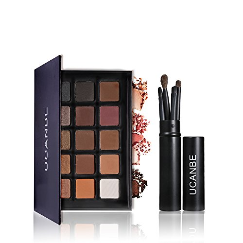 Matte Neutral Glitter Eye Shadow Palette with 5 pcs professional Eyeshadow Makeup Brushes Set Ucanbe