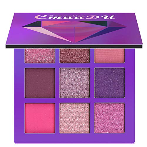 Joykith Eyeshadow CmaaDu 9-Color Diamond Bright Eyeshadow Palette Colors Range from WhiteCream Colors for Highlight to Dark Colors Ideal for Smoky Eyes