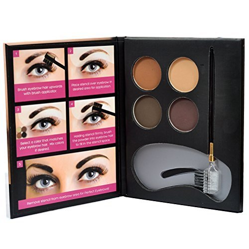Beauty Treats Eyebrow Kit - 4 Eyebrow Powders 3 Stencils 1 Brush Applicator