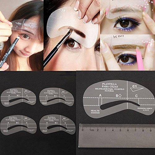 LuckyFine New 4 Styles Eyebrow Grooming Stencil Template Make Up Shaping Shaper Kit Tools