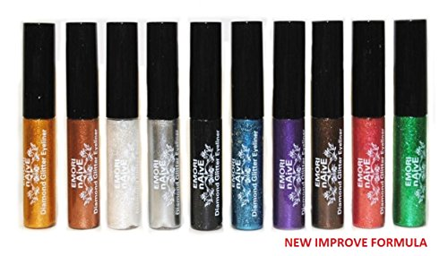Diamond Glitter Shimmer Style 10 Piece Liquid Eyeliner Eyeshadow Color Set  Microfiber Pouch Bag