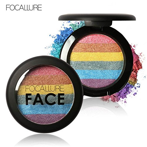 BinmerTM Focallure Rainbow Highlight Eyeshadow Palette Baked Blush Face Shimmer Color B
