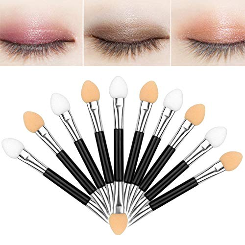Artlalic 30pcs Professional Double Ended Eyeshadow Brushes Cosmetic Tool Dual Sides Eyeshadow Sponge Brushes Makeup Applicator One End With 2 Colors