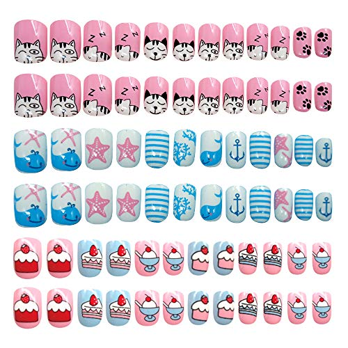 iFancer Kids Press On Nails Set Girls False Nail Kits Pre Glued Fake Nail Tips for Child Cartoon Pattern Collection Great Gift for Little Children Teens 3 Packs 10 Sizes 72 PCS