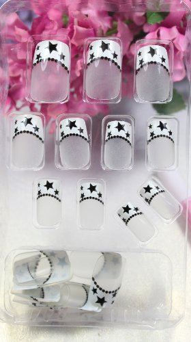 GGSELL TAC New design Nail Art 24pcs white false nail with black star and block dot fake fingernails nail patch by TCAQJ