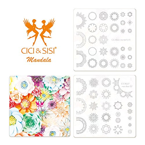 CICI&SISI Nail Art Stamping Plates Kit Mandala Plate Manicure Template 2 Pieces