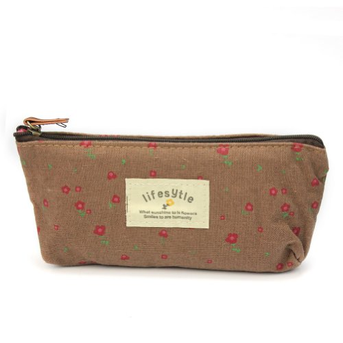 Flower Floral Pencil Pen Case Cosmetic Makeup Bag Zipper Pouch Purse New - Coffee by AllBeauty