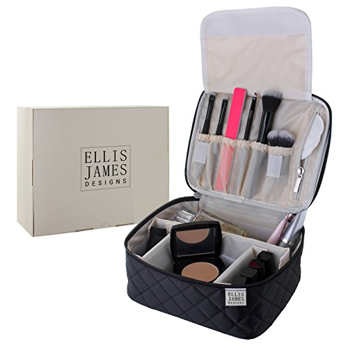 Ellis James Designs Travel Makeup Bag Organizer for Women - Black - 2-in-1 Make Up Bag and Nail Polish Case - Large Makeup Brush Bag with Handle and Compartments